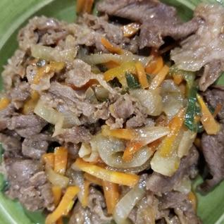 牛肉、新玉ねぎの焼き肉炒め