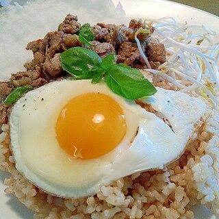 塩麹漬け豚肉となすのガパオ風ご飯