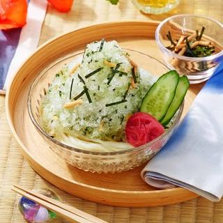 かき氷風うどん(梅茶漬け)