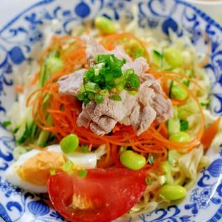 ごまドレぽん酢で食べる★豚しゃぶの冷やし中華