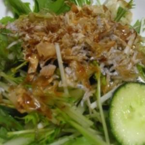 水菜とじゃこのサラダ和風オリーブオイルドレッシング