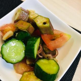 夏野菜(赤オクラ、きゅうり、トマト)のサラダ♡