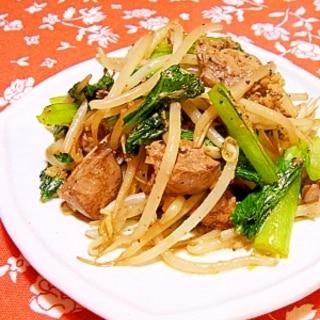 鶏レバーともやしと小松菜のにんにく醤油炒め
