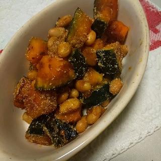 栄養満点♪かぼちゃと大豆の甘辛炒め