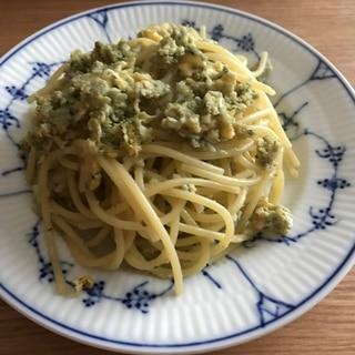 卵でバジルマヨチーズパスタ