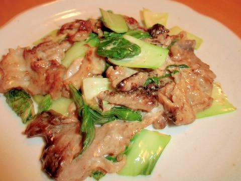 豚肉と青梗菜の豆板醤マヨ炒め