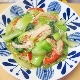 チンゲン菜とカニカマの炒めあんかけ風