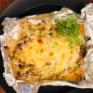 納豆とブロッコリースプライトの京揚げピザ!