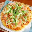 アスパラとシーフードピザ