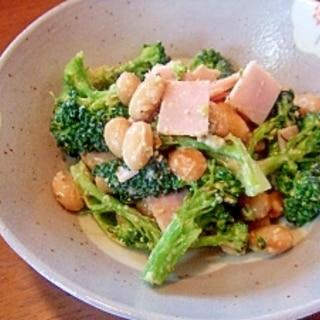 ゆで大豆とブロッコリーのごまみそマヨ和え☆