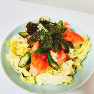 トマトとオクラのわさびドレッシングサラダ