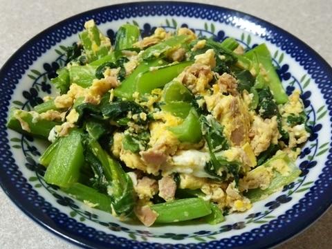 めんつゆで☆小松菜とシーチキンの卵炒め
