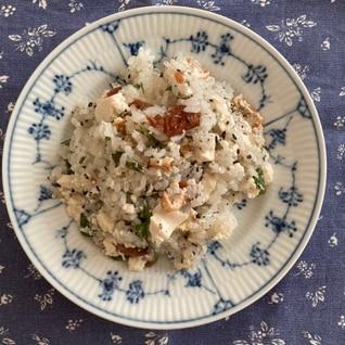 青じそと豆腐の梅干しチャーハン