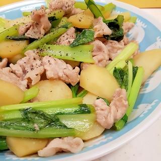 豚肉+小松菜+じゃがいものオイスターソース炒め♪