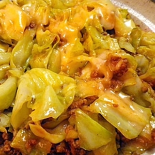 超簡単、キャベツと挽肉のカレー炒めチーズのせ