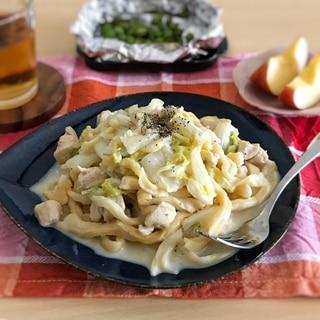 鶏肉と白菜の味噌チーズクリームパスタ