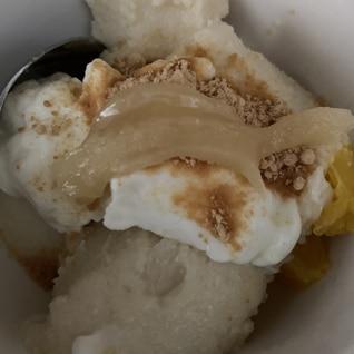 伊予柑のおから豆乳寒天とヨーグルトデザート