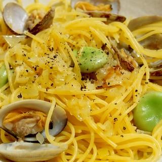 そら豆とあさりの春のボンゴレ・スパゲッティ