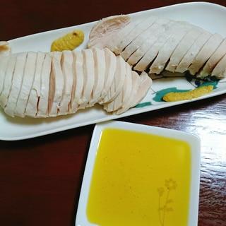 オリーブオイルとカラシで食べる茹で鶏