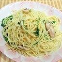 水菜と椎茸のパスタ