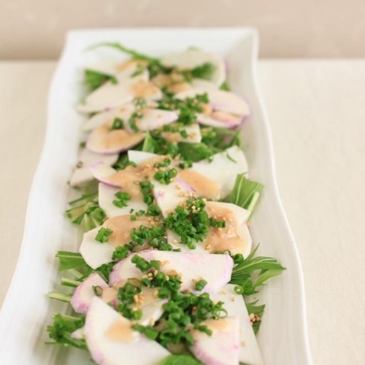 赤かぶと水菜の和風カルパッチョ。