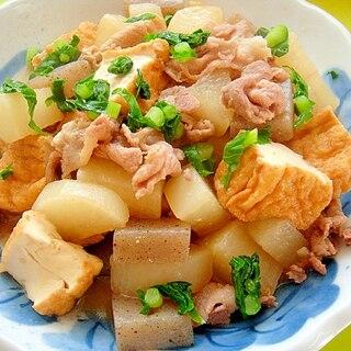 大根と厚揚げ豚肉こんにゃくの味噌煮