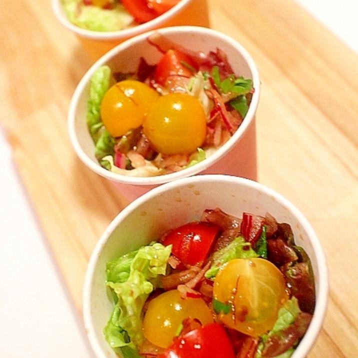 便利で食べやすい♪紙コップでカップサラダ
