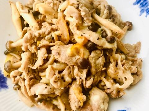 野菜炒め〜豚肉とキノコのレモンバジル風味チーズ和え