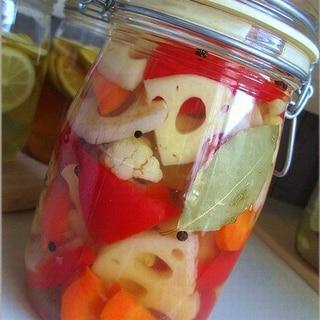 レモン酢でピクルス液と野菜のピクルス