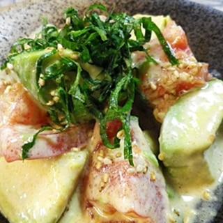 アボカドトマトの麺つゆマヨあえ
