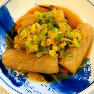 ねじり蒟蒻とネギの煮物