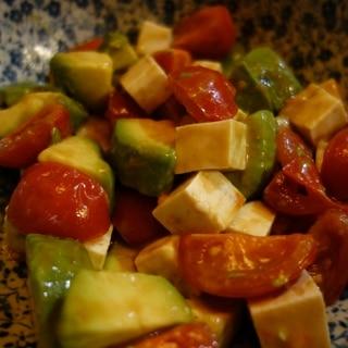 ノンオイル トマトとアボカドと豆腐のポン酢サラダ