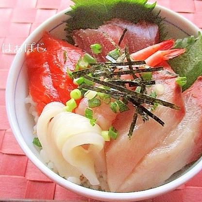 ごま入り♪簡単寿司飯!の海鮮丼