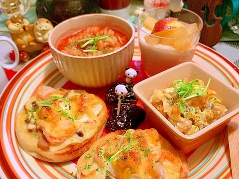 海老と茸のマヨチーズマフィントースト