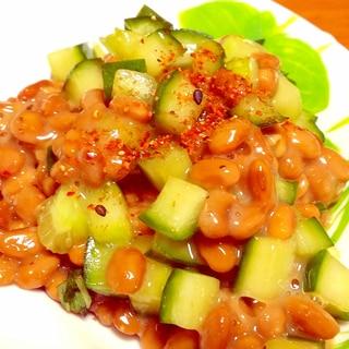 簡単副菜に♪きゅうりと納豆の中華風和え☆