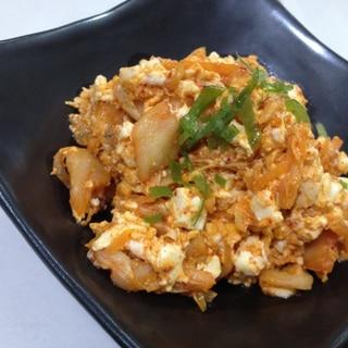 超簡単スピードおつまみ!キムチと豆腐の卵とじ