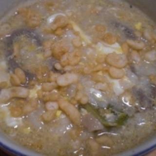 鴨鍋の残りで!  「揚げ玉入り鴨鍋雑炊」  ♪♪
