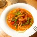 かに缶の汁で作る!蟹風味トマトクリームパスタ