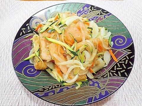 ズッキーニと鮭のポン酢炒め