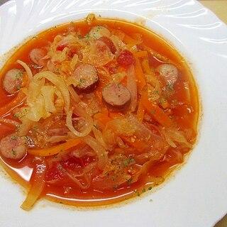 野菜とウインナーのトマトスープ