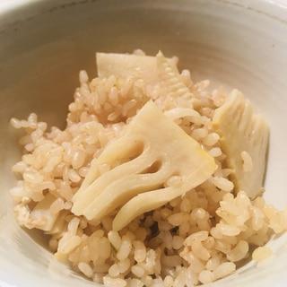 玄米で作るたけのこご飯〜