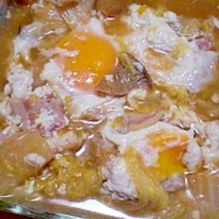 圧力鍋で! 「白菜とベーコンの煮物卵のっけ」 ♪♪