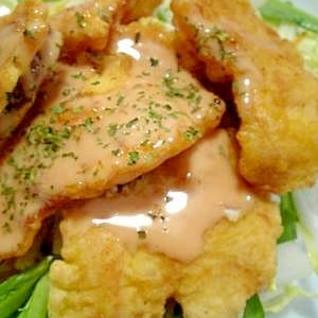 鶏むね肉でチキンフリッター☆ケチャマヨソースがけ