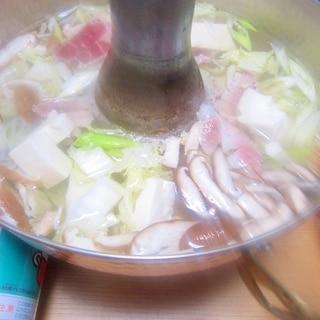 都城産豚肩ロース肉と白菜と葱と豆腐と椎茸の鍋グリル