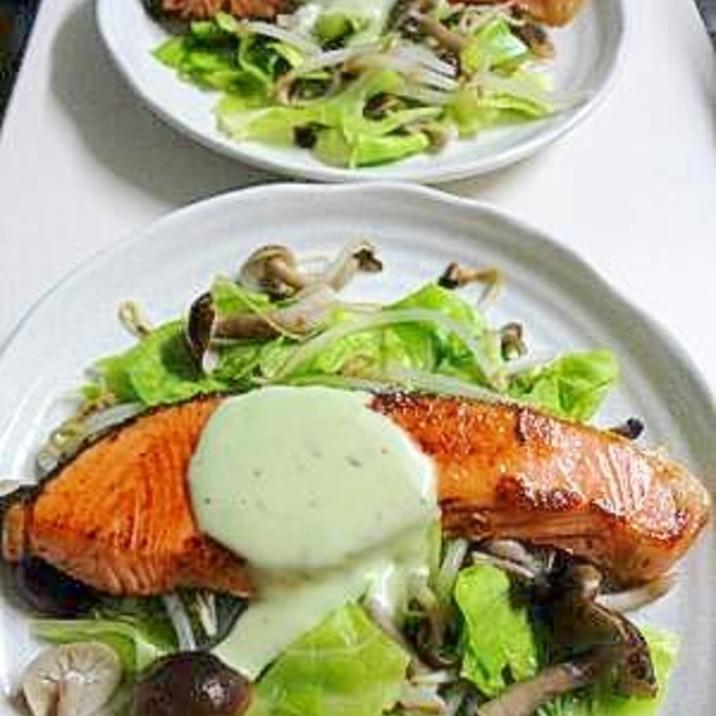 鮭のバター焼き たっぷり蒸し野菜とともに。