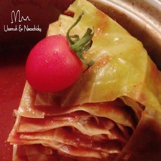 そのままキャベツと豚肉のトマト仕立てのミルフィーユ