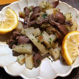 柚子で絶品☆砂肝とポテトのガーリックソテー