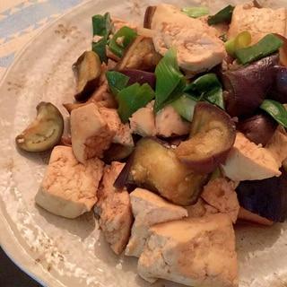山椒風味♩なすと豆腐の出汁炒め♩(ノンオイル)