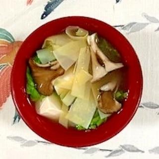 しろ菜、塩とうふ、舞茸、姫皮のお味噌汁