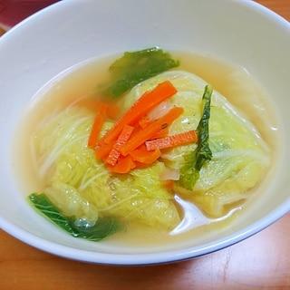白菜とベーコンの巻き巻きスープ
